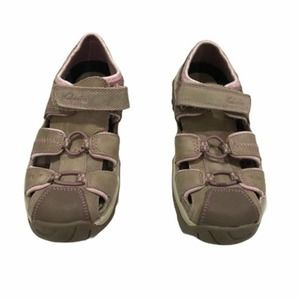 CLARKS ACTIVE AIR Brown Pink Leather Sandals 12.5